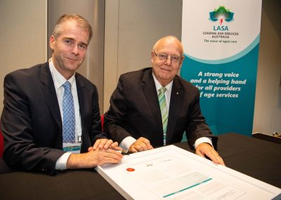 LASA CEO Sean Rooney and the Chairman of the LASA Board Dr Graeme Blackman, signed a ceremonial LASA Membership Charter at the peak body's Annual General Meeting in Adelaide today.